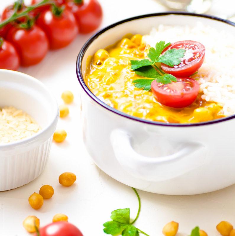 Kichererbsen Curry mit Tomate Reis Kokosmilch indisch