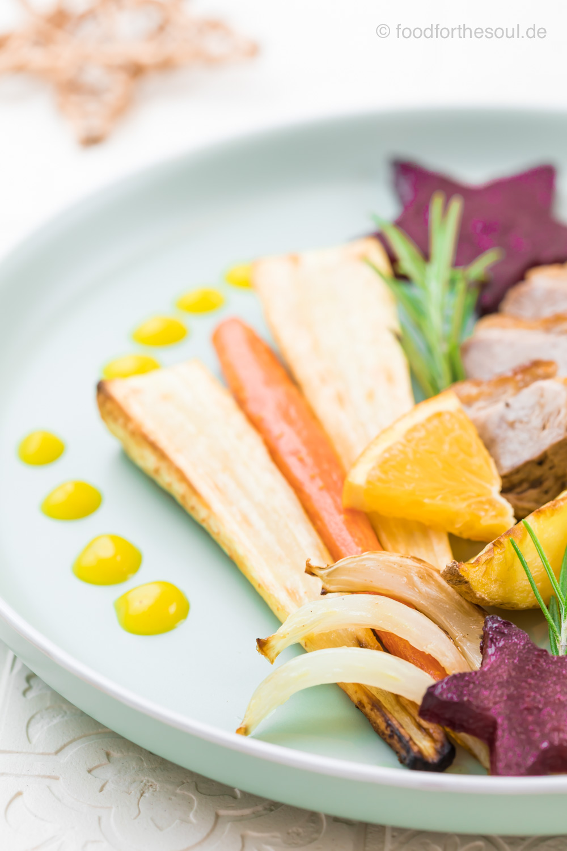 Entenbrust mit Orangensauce an Ofengemüse