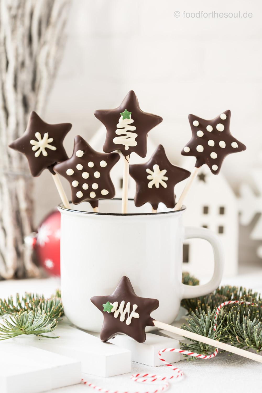 Lebkuchen Sterne Cake Pops ohne Cake Pop Maker
