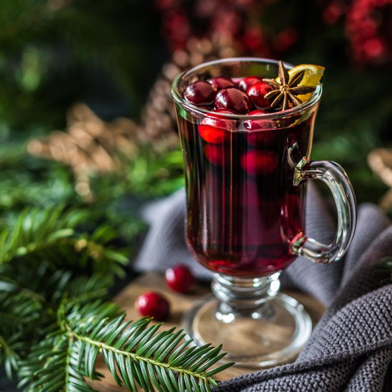 Cranberry Glühwein in Punsch Glas