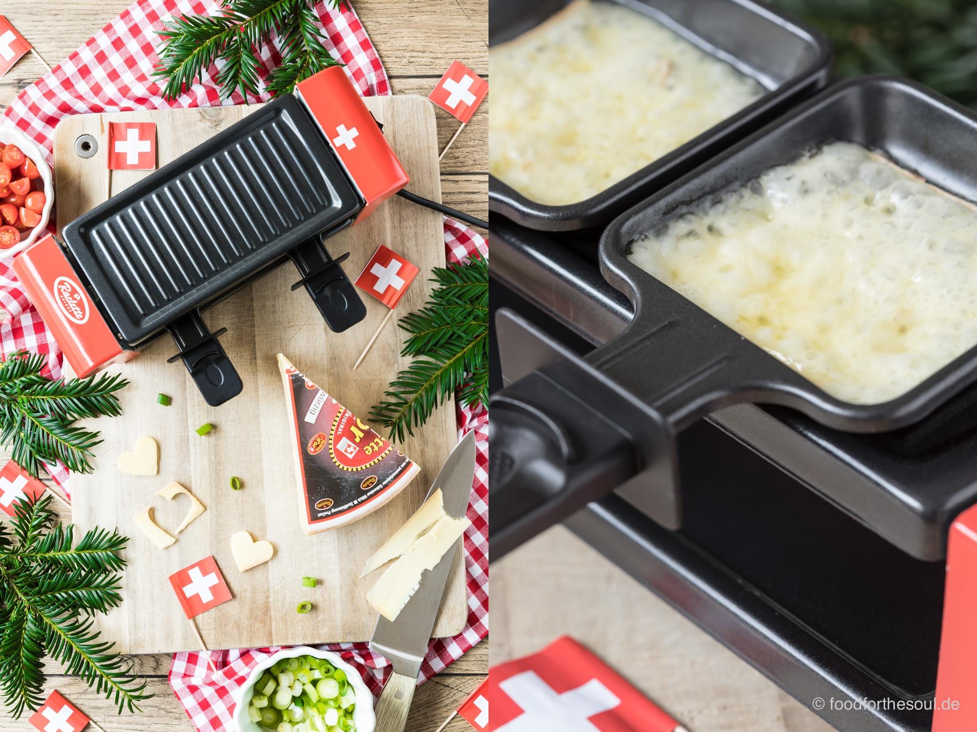 Gebratene Maultaschen aus dem Raclette Ofen mit Raclette Suisse