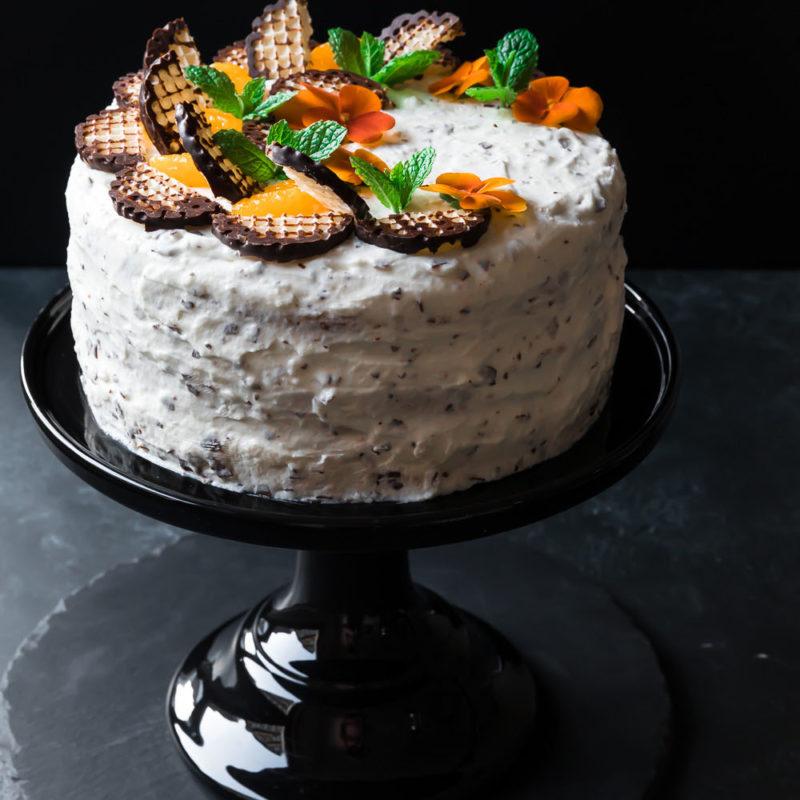 Dunkle Schokokusstorte mit Mandarinen food for the soul Mohrenkopftorte Torte Schokoküsse Schaumküsse Kuchen Straciatella